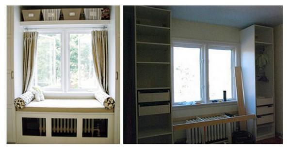 Встроенные шкафы у окна 41